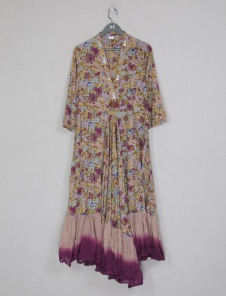 Purple cotton printed Kurti for casual look