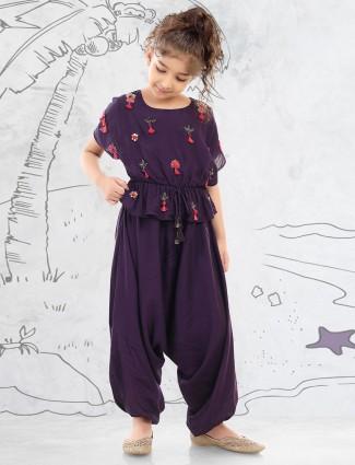 Purple cotton silk girls dhoti suit