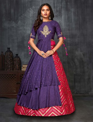 Purple cotton silk party wear anarkali suit
