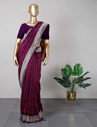 Purple designer cotton silk saree for festive functions