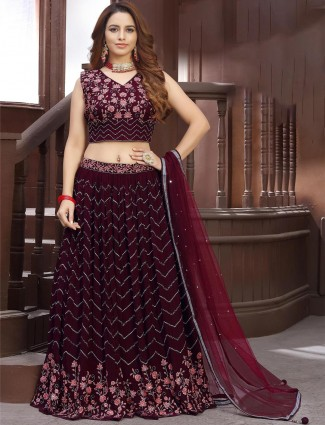 Purple georgette designer lehenga choli for wedding occasions