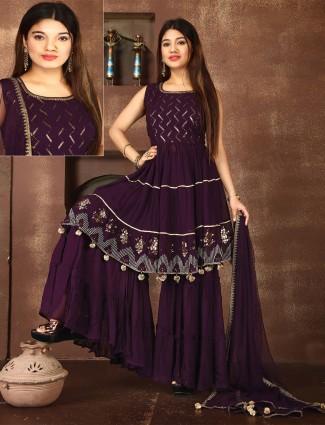 Purple georgette wedding ceremonies punjabi style sharara suit