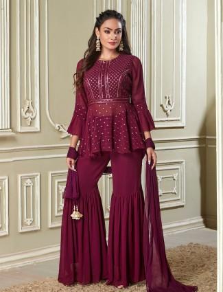 Purple georgette wedding occasions punjabi style sharara suit