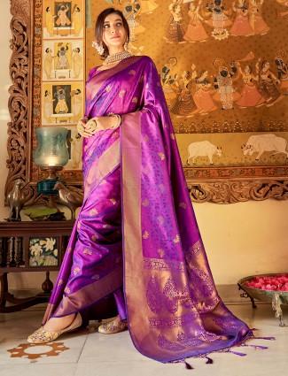Purple hue jaquard silk fabric wedding saree
