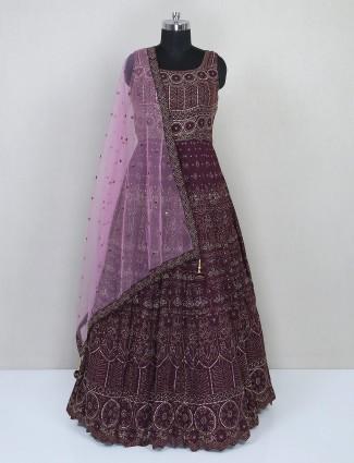 Purple net wedding wear suit