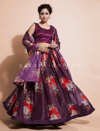 Purple organza tissue floral print lehenga for wedding