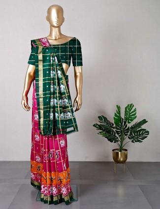 Purple patola silk saree ideal for wedding wear
