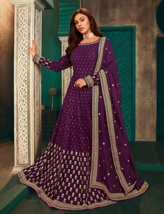 Purple raw silk lovely anarkali salwar suit for wedding occasions