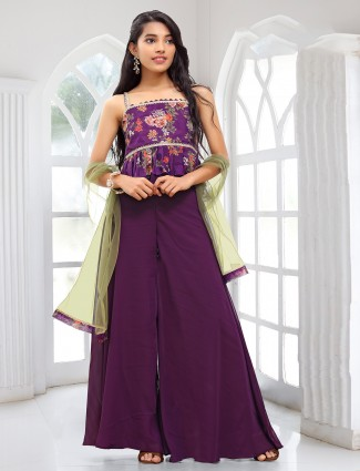 Purple shade palazzo suit with thread and sequins work details