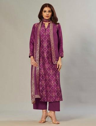 Purple silk hue festive ceremonies palazzo set