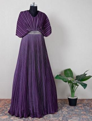 Purple silk party wear gown
