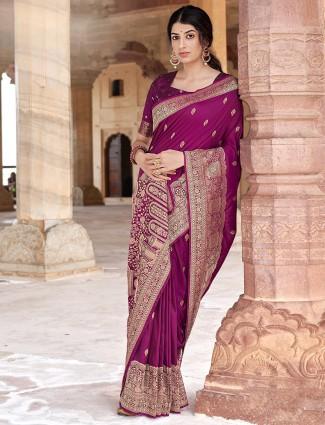 Purple special silk saree for wedding function