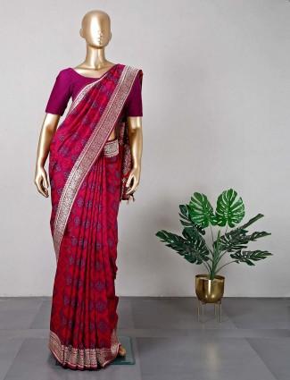 Purple thread work saree for festive