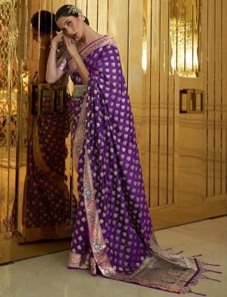 Purple wedding ceremonies banarasi silk sari