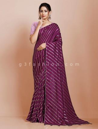 Purple wedding dola silk saree