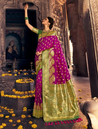 Purple wedding events banarasi silk saree