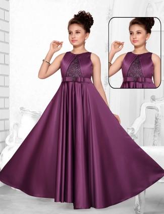Purple wedding wear silk gown for little babes