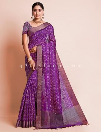 Purple zari decorated south silk saree