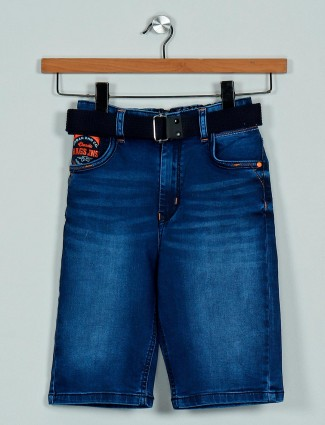 Rags blue denim shorts with washed effect