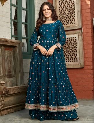 Rama blue beautiful punajabi anarkali style wedding georgette lehenga set