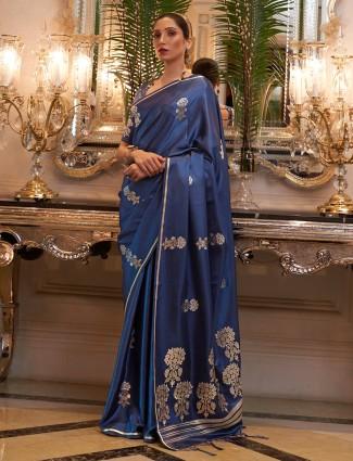 Rama blue conventional printed wedding occasions silk saree
