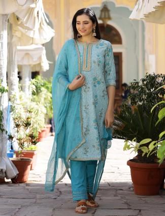 Rama blue cotton punjabi style printed festive wear pant suit