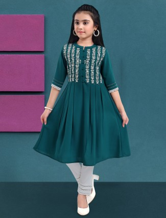 Rama blue party wear peplum top with leggings in cotton
