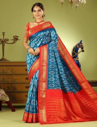 Rama blue patola silk wedding wear saree with ready made blouse