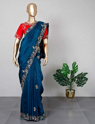 Rama blue silk saree for women