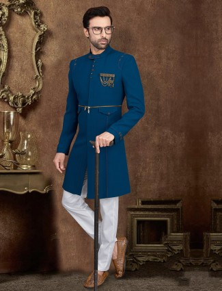 Rama blue textured indo western party wear
