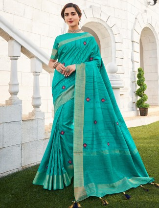 Rama colored handloom saree with striped blouse piece