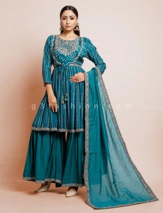 Rama green colored bandhej sharara suit in cotton