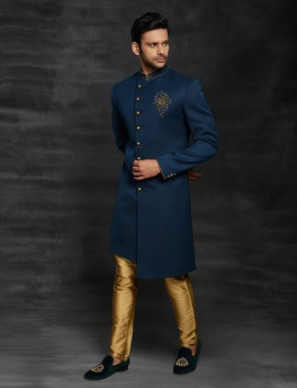 Royal blue indo western for wedding function