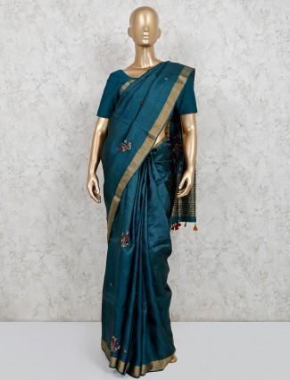 Rama green latest cotton linen party saree