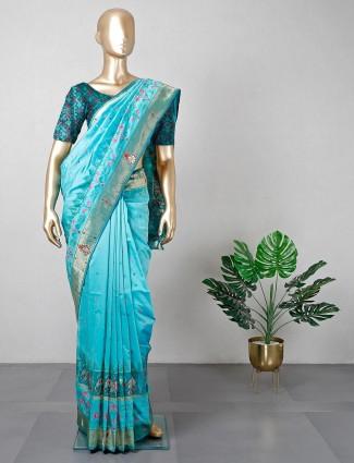 Rama green patola silk saree for wedding function