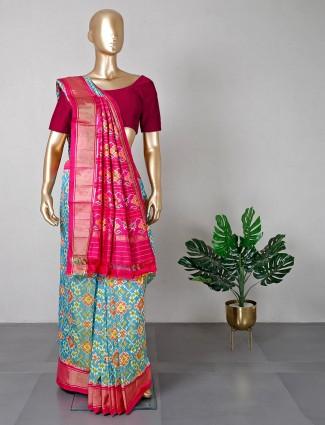 Rama green patola silk saree for women