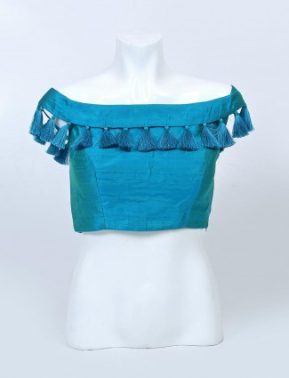 Rama green readymade raw silk blouse