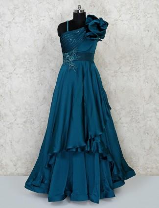 Rama green satin wedding reception gown