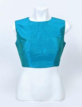 Rama green solid rady made blouse in raw silk