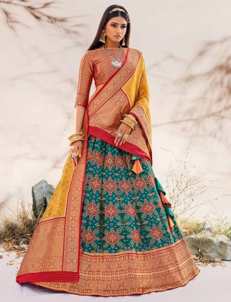 Rama green wedding wear unstitched patola lehenga choli