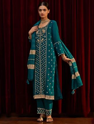 Rama green zari weaving silk punjabi kurti set