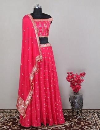 Rani wedding wear georgette lehenga choli for women