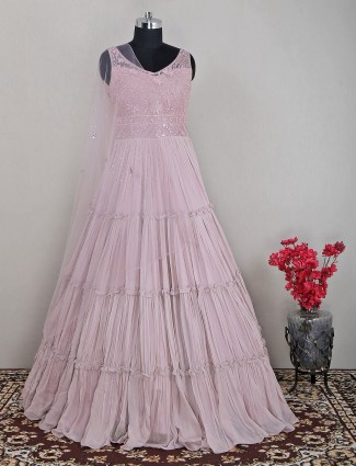 Ravishing gown in rose pink in georgette fabric