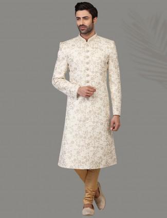 Ravishing off white silk sherwani set