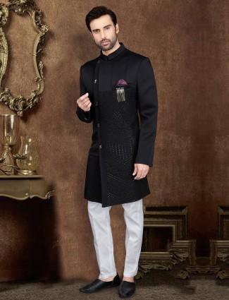 Raw silk black indo western for party