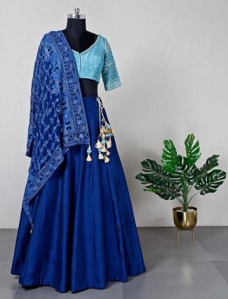 Raw silk blue wedding wear lehenga choli