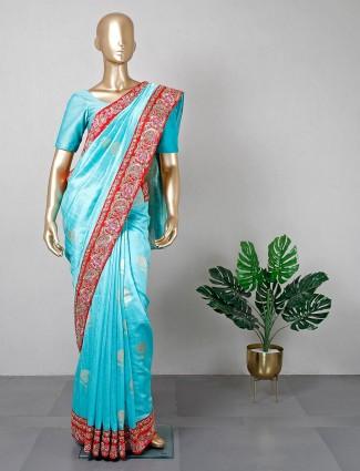 Raw silk festive wear blue saree