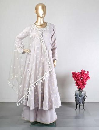 Raw silk grey palazzo suit for wedding
