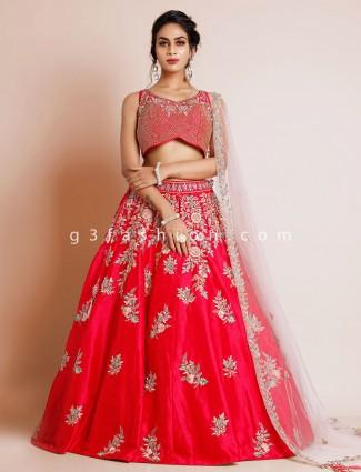 Raw silk magenta wedding occasions lehenga choli