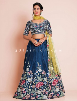 Raw silk navy blue wedding wear lehenga choli